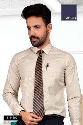 Beige Micro Chex Formal Uniform Shirts for Corporate Office S-445901