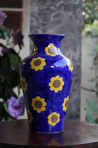 Blue Pottery Flower Vase Shape Jar Shaped & Blue Pottery Flower Vase Shape: Jar Shaped Rs 1500 /piece | ID ...