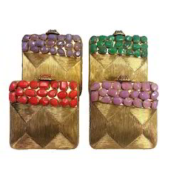 Women Stone Work Clutch