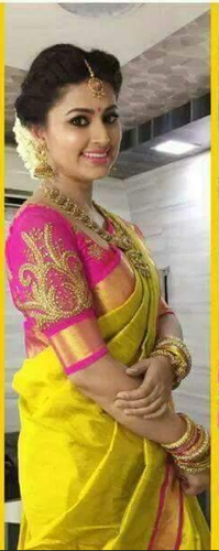 3e66439ade Yellow And Pink Yellow With Pink Plain Uppada Tissue Silk Sarees, Rs ...