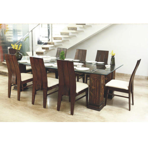 Gl Top Wooden Dining Table