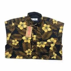 Cotton Printed Mens Flower Print Shirt, Certification: With Certificate, Size: S-XXL