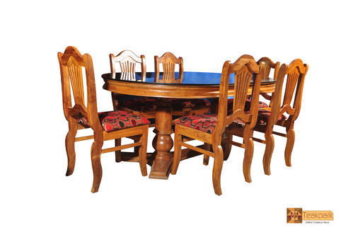 Nila Oval Teak Wood Dining Set Glass Top Table With 6 Chairs