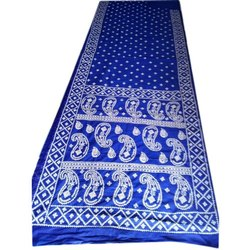 Cotton Ladies Blue Printed Party Wear Saree, 6.3 m With Blouse Piece