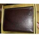 Mens Brown Plain Leather Wallet