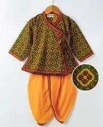 Jaipuri Print Cotton Kedia Dhoti Set- Red