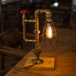 Vintage Industrial Water Pipe Style Table Lamp