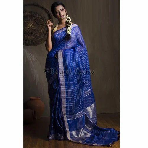 9f40f4bbd7 Pure Handloom Zari Checks Linen Saree in Royal Blue and Silver ...
