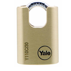 Yale Y110C/30/115 Brass Padlock With Closed Shackle