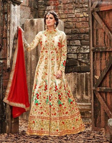 08962d2fbb Silk Beige Color Floor Length Semi-Stitched Anarkali Suits, Rs 4451 ...