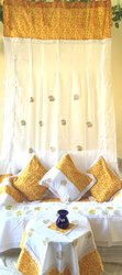 Embroidery Yellow Designer Curtain Story