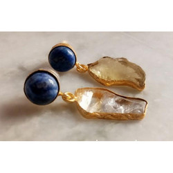 Rough Gemstone Gold Plated Earring
