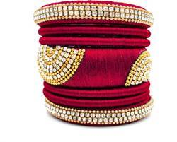Red Handmade Silk Thread Bangle Set