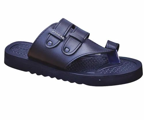 Black Men Poddar Leather Gents Chappal, Size: 6-10