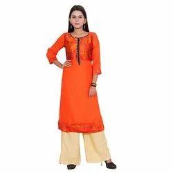 3/4th Sleeve Orange Rayon Kurti