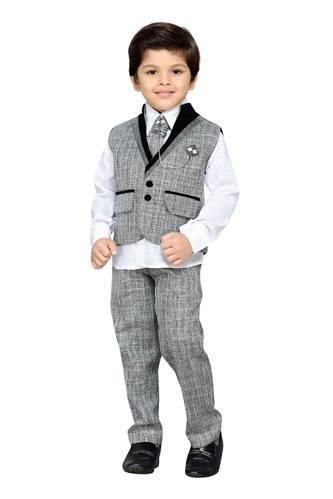 Blended Cotton And Jute Kids Party Wear Suit Set For Boys