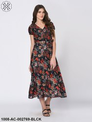 Multi Color Floral Print Black Maxi Dress for Women