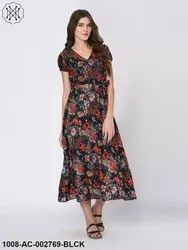 Printed Casual Multi Color Floral Print Black Maxi Dress for Women