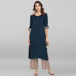 Janasya Women''s Blue Rayon Kurta With Palazzo(SET165)