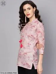 Round Neck Baby Pink Printed 3/4Th Sleeve Cotton Tunic