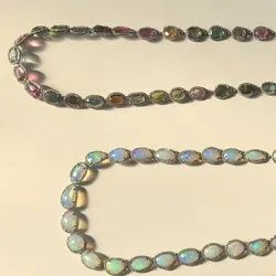 Multi Tourmaline & Ethiopian Opal Pave Diamond Prong Setting Chain Necklace Set In Sterling Silver