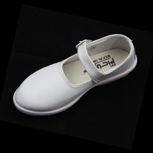 Girls White School PVC Belly Shoes
