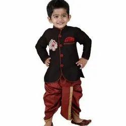 Cotton Black Kids Party Wear Dhoti Kurta, Size: 38, Packaging Type: Packet