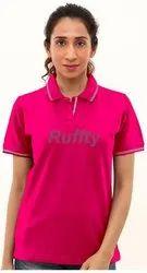 Half Sleeve Pink Rufty Ladies T Shirts