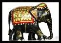 Wooden Painted Elephant Statue Figurine