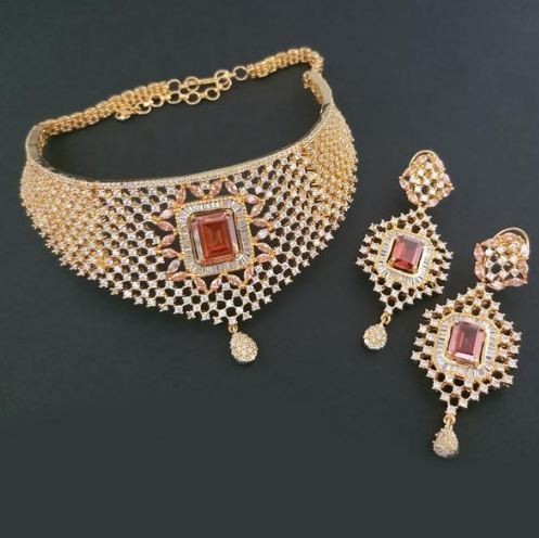 1340264a2 American Diamond Necklace Set at Rs 350  set