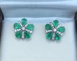 14K Emerald and Diamond White Gold Earrings