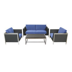 Stainless Steel and Leather 4 Seater Blue Cafe Sofa Set