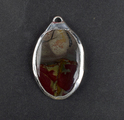 Blood stone Gemstone Oval Shape Silver Electroplated Pendant