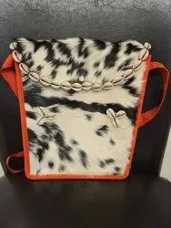 Goat Hair On Leather Side Bag