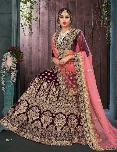 56949cb1dc Velvet Pink Designer Bridal Lehenga Choli, Rs 9095 /piece | ID ...