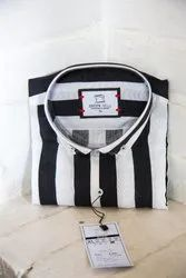 Mens Black White Stripe Casual Shirt