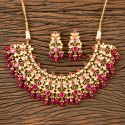Green Kundan Classic Necklace With Gold Plated 300427, Size: Regular