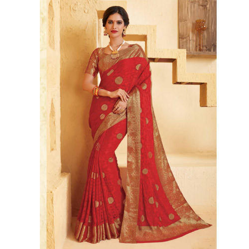 c27302116076a5 Red And Golden Party Wear And Festive Wear Designer Print Red Saree, With  Blouse Piece