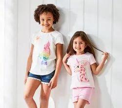 Half Sleeves White Kids Girls Cotton T-Shirt, Size: 5-7 Years