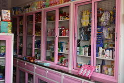 8' Pink Pharmacy cabinet with sliding glass, For Office