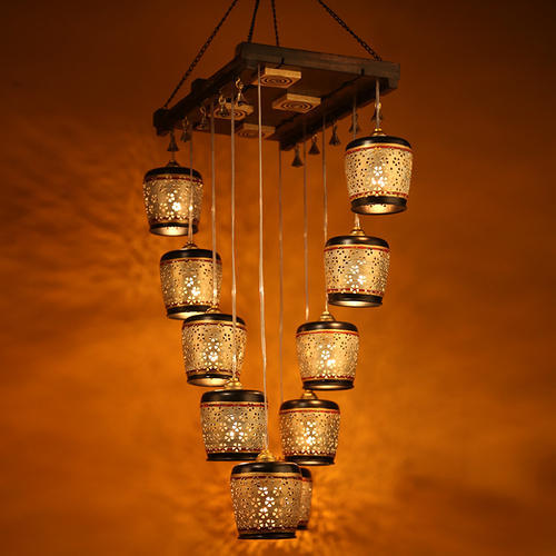 ExclusiveLane Barrel Shaped Chandelier With Metal Hanging Shades In Gleaming Golden (10 Shades)