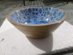 Wandcraft Exports Printed Round Acacia Wooden Salad Bowl