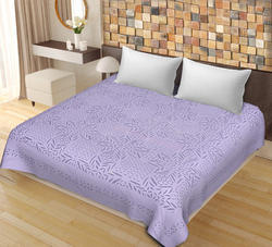 SAAVRA Purple Color Cut Work Cotton Double Bedsheet
