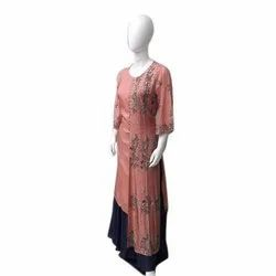 3/4th Sleeve Ladies Party Wear Embroidered Rayon Palazzo Kurti, Size: S-Xxl, Wash Care: Machine Wash