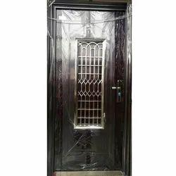 Swing Wooden Finish Mild Steel Door for Home