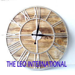 Wood and Metal decorative large Wall Clock