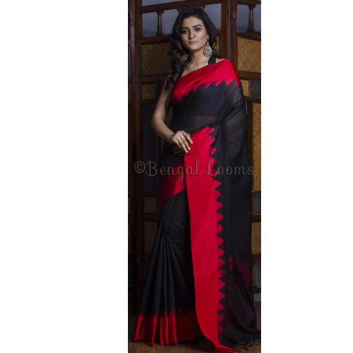 3d1dcf5e266ead Premium Quality Tussar Silk Saree with Woven Satin Border in Black and Red