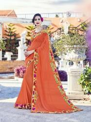 Georgette Orange Printed Flower Border Saree