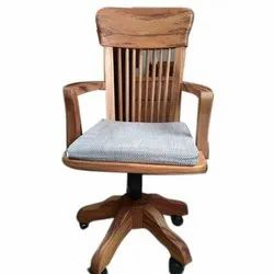 Furniture View Point Brown Wooden Official Chair