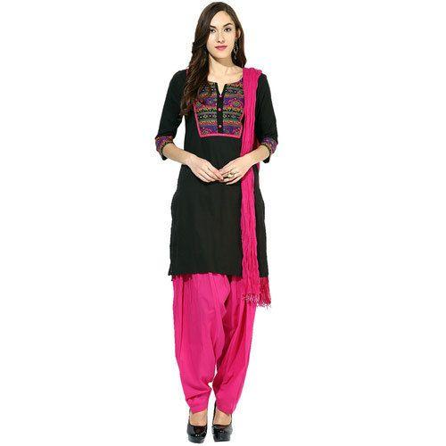 35e1da96ee Pure Cotton 3/4th Sleeves Black Kurta And Pink Patiala Salwar, Rs ...